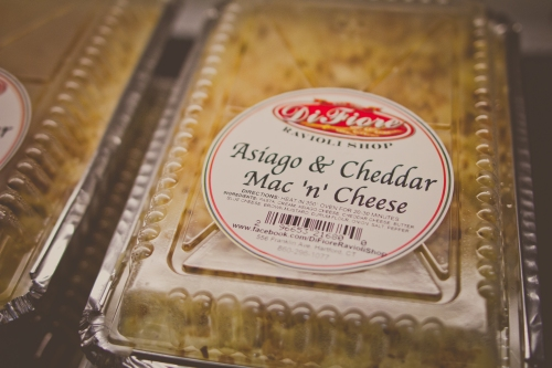Our asiago & cheddar mac 'n' cheese is one of our best selling items. Available in large and small trays.